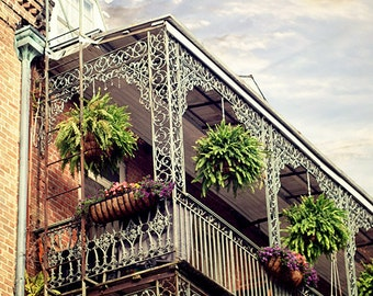 "New Orleans Art Photography. French Quarter ""Pretty NOLA"" Picture. Louisiana balcony, Architecture, 8x10, 11x14, 16x20, 20x24, 24x30, 24x36"