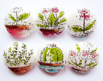 Sewing Buttons / Fabric Buttons - 6 Large Fabric Buttons Set - Cactus and Flowers