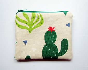 Zipper Pouch / Zipper Coin Purse / Coin Pouch - Cactus Print - Available in Small / Large / Long