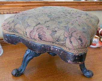ANTIQUE VICTORIAN FOOTSTOOL with 3 Cast Iron Legs - Covered Wood Seat