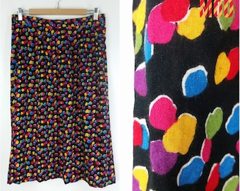 Adorable 90s Rainbow Polkadot Black Midi Skirt - Comfy, Colorful and Cute!