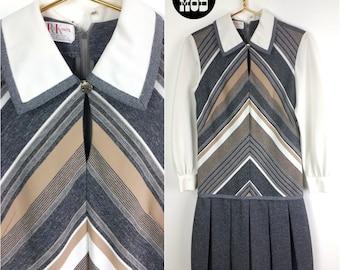 Retro Vintage 60s Mod Gray, White & Tan Chevron Stripe Dropwaist Dress with White Collar! Plus Size!