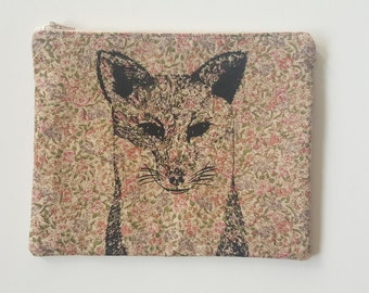 Fox illustration screen printed floral make up bag/clutch - Large