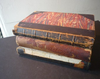 Vintage . .  Instant Collection . . Old Beautiful Books - Library Collection - Lovely Browns and Red Marbling Leather Bindings