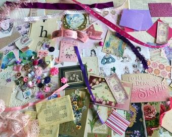 Bag o' Goodies - Scrapbooking, Journaling, Mixed Media Supplies - Vintage Papers, Photos, Ribbon, Buttons, Ephemera