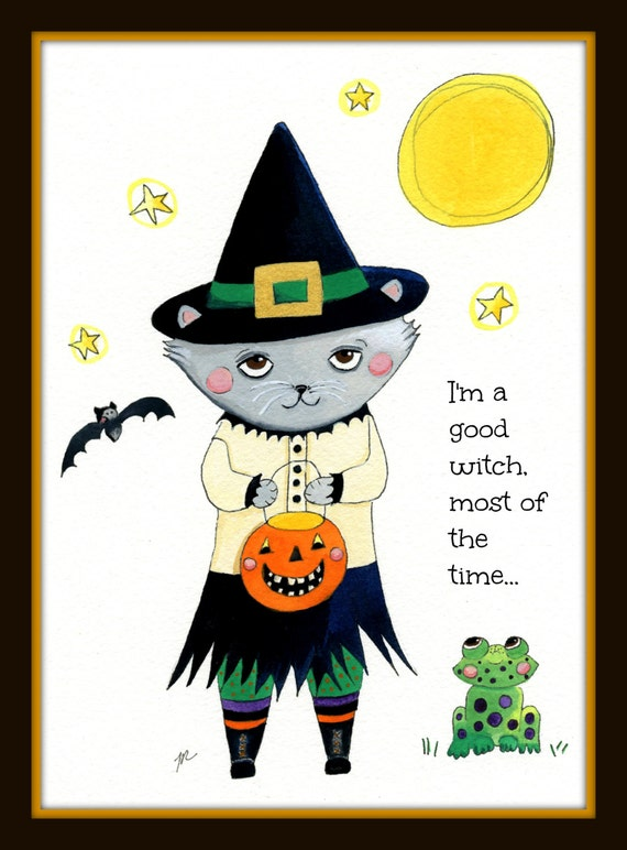 Good Witch Kitty, digital download, halloween card