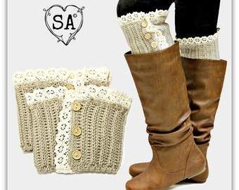 Tan Beige Lace & Button Boot Topper Cuff Warmer