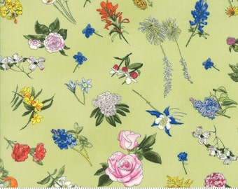 Moda Fabric State Flowerscape State Flowers on Green - yards