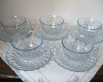 Vintage Anchor Hocking Bubble Blue Cup and Saucer Sets - Two (2) Sets Available
