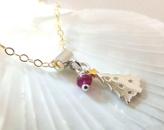 Christmas Necklace, Christmas Tree Necklace, Sterling Silver, Silver Christmas Necklace, Christmas Tree Pendant, Gemstone Necklace - Holiday