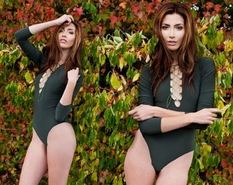 Olive Green Laceup Bodysuit Leotard Long Sleeve XS S M L XL