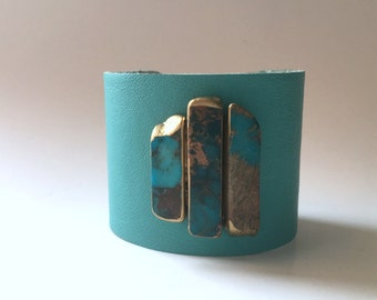 """leather cuff bracelet  - turquoise leather with trio of jasper stones  - 2"""" wide"""