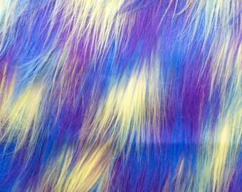 "Long 4"" Purple Yellow Blue Mix Fur Fabric"