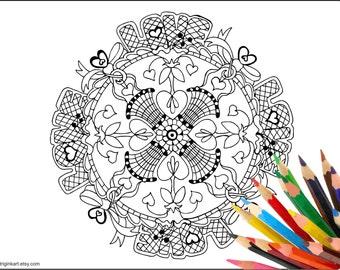 Love Basket Mandala Adult coloring page
