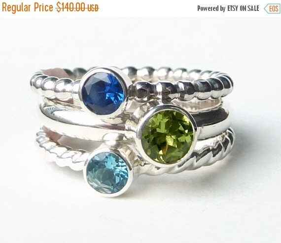 ON SALE Mothers Ring - 3 Birthstone Stacking Rings  - Family Ring - Faceted Gemstones - Stackable Rings - Birthstone Rings - Sterling Silver