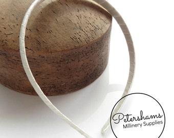 Satin Ribbon Wrapped 1cm Plastic Headband for Fascinators & Millinery - Ivory