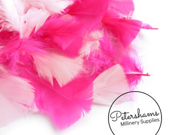 Pack of Turkey Flats Feathers for Millinery Hat Trimming and Crafts (50 Feathers) - Pink Mix