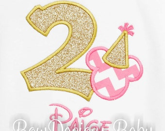 Girls Mickey Birthday Shirt, Personalized Mickey Mouse Birthday Number Shirt, Mickey Party Hat, Girls Birthday Shirt, Custom, Any Age