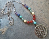7 Chakra Flower of Life Necklace ~ Sacred Geometry ~ Spiritual Jewelry