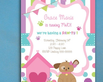 Puppy Party Invitations for GIRLS, Puppy Adoption Party, Puppy Pawty,  PRINTED Invitations