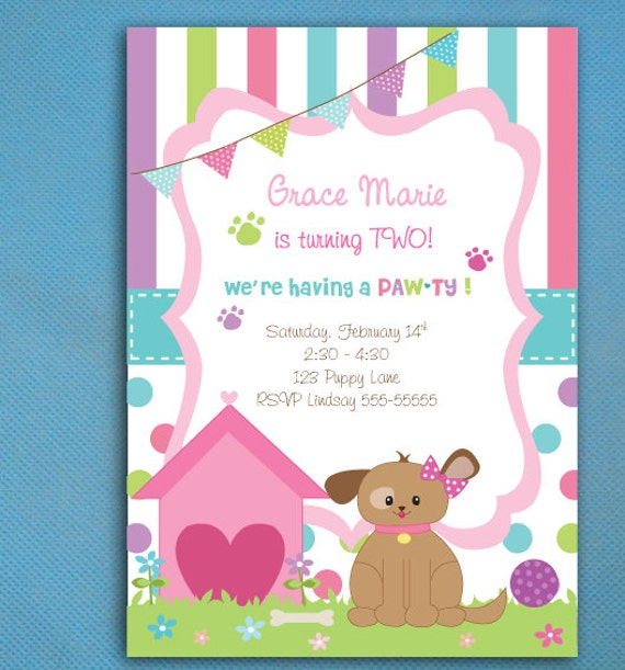 puppy party invitations for girls, puppy adoption party, puppy, Party invitations