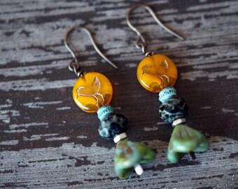 Bead Soup Jewelry - Goldenrod Chick Earrings - Mixed Media - Sari Silk Earrings - Boho Bird Earrings - Rustic Orange and Turquoise