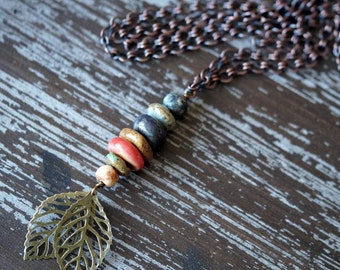 Chain Necklace - Leaf Necklace - Ceramic Totem Pole Necklace - Earthy Ceramic Necklace - Rustic Boho - Bead Soup Jewelry