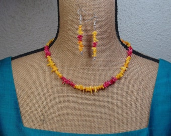 AAA  Coral Stem Slices,.925 Silver necklace and Earrings