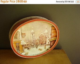 30% off SALE Petit Cafe - Vintage Red and Gold Metal Illustrated Tray and Cake Saver or Cake Tin Carrier - Sunshine Biscuits