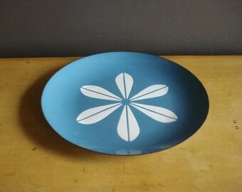 Blue Lotus - Vintage Catherineholm Enamel Plate - Metal and Enamel Blue and White Flower Dish - Norway