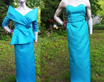 80s Prom Dress with Vintage Jacket in Teal, 80s Bridesmaid Dress, 80s Costume, Strapless Dress with 80s Jacket, Vintage Dress Size 2