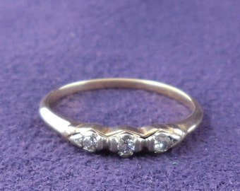 Stacking Wedding Band 3-Diamond Ring Vintage Size 6 1/4