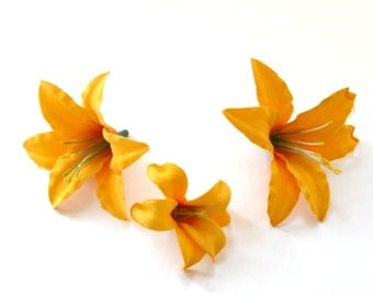 10 Tiger Lilies in Yellow Gold - Artificial Flowers, Silk Flower Heads - PRE-ORDER
