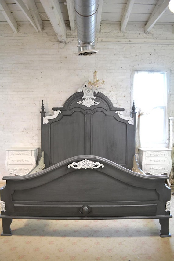 gray french bed painted cottage shabby chic french bed queen. Black Bedroom Furniture Sets. Home Design Ideas