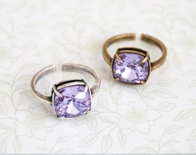 Swarovski Violet Purple Cushion Cut Crystal Cocktail Ring, Silver Adjustable Ring Swarovski Crystal Cocktail Ring Seafoam Dark Mint Ring