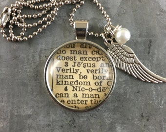 Personalized Vintage Bible Verse Pendant Necklace- Pick Your Verse