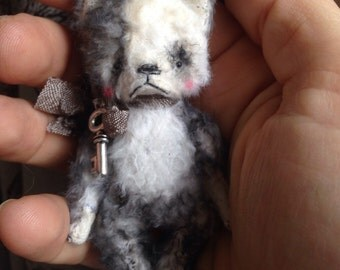 RESERVED FOR STACY 2 inch Artist Handmade Miniature Pocket Sized Teddy Boston Terrier Puppy by Sasha Pokrass