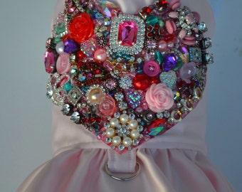 Dog Harness - Vintage Jewels Bling Heart