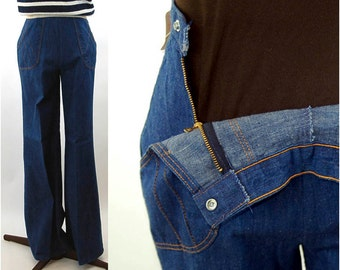 1960s jeans high waisted bell bottom blue jeans elephant bells Deadstock Size S