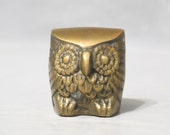 Vintage Brass Owl Figurine/ Cute Big Eye Chubby Bird, Gold Tone Metal Hoot Statue, Small Hooter Night Bird Wise Owl Desk Accessory Woodland