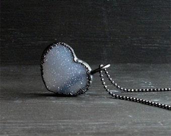 Love Heart Quartz Valentine Necklace Druzy Grey Lavender Natural Stone Necklace Pendant Rough Stone