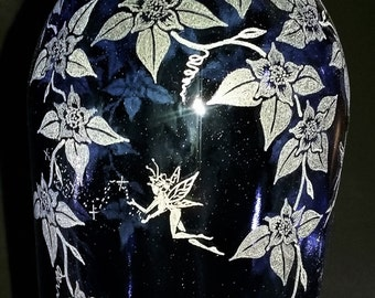 Large Recycled Glass Blue Fairy Floral Bottle