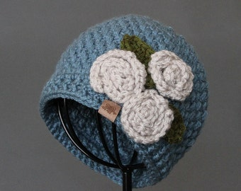 Crochet Beanie PATTERN Brighton Beanie Hat with Roses Crochet Beanie Pattern Newborn to Adult Sizes