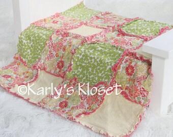 Baby Quilt, Newborn Prop, Yellow, Green & Coral Quilt, Newborn Rag Quilt, Baby Girl Props, Newborn Photography Props, Layering Blanket Prop