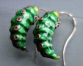 Chinese Enamel Caterpillar Earrings