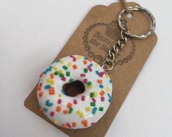 Polymer clay novelty iced rainbow sprinkles ring doughnut keyring