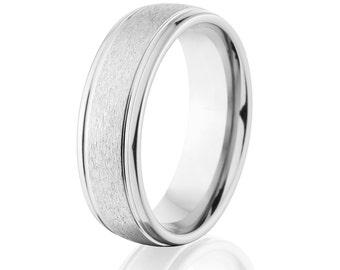 Cobalt Wedding Band, Cobalt Ring, Wedding Ring, Wedding Band USA Made Cobalt Jewelry: COB-7HR2G-STC