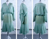 Vintage Green Sheer Peacock Feather Dress