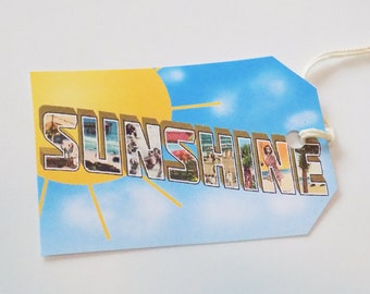 Sunshine Tags - Set Of 3 - Retro Postcard Tag - Summer Sun Tags - Sunny Beach Tag - Beach Letter Tag - Gift Tags - Thank Yous - Vacation Tag