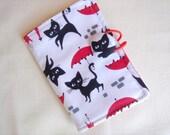Tea Wallet  Cute Black Cats with Red Umbrella Tea Holder